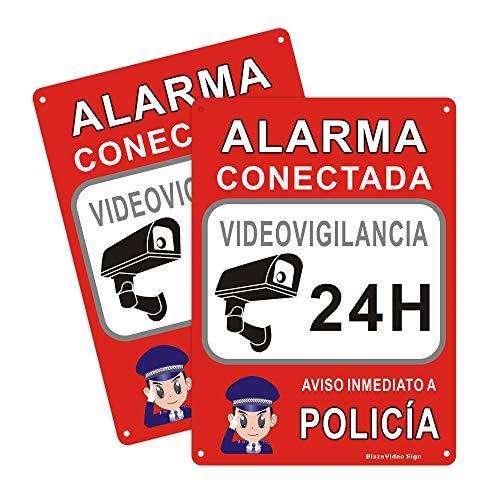 2pcs Cartel Videovigilancia Conectar al Sistema de Policía Señal de Advertencia Señal de Seguridad de Aluminio Señal Exterior Señales de Alarma
