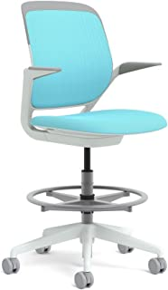 Steelcase White Base with Standard Carpet Casters Cobi Stool, Maya Blue
