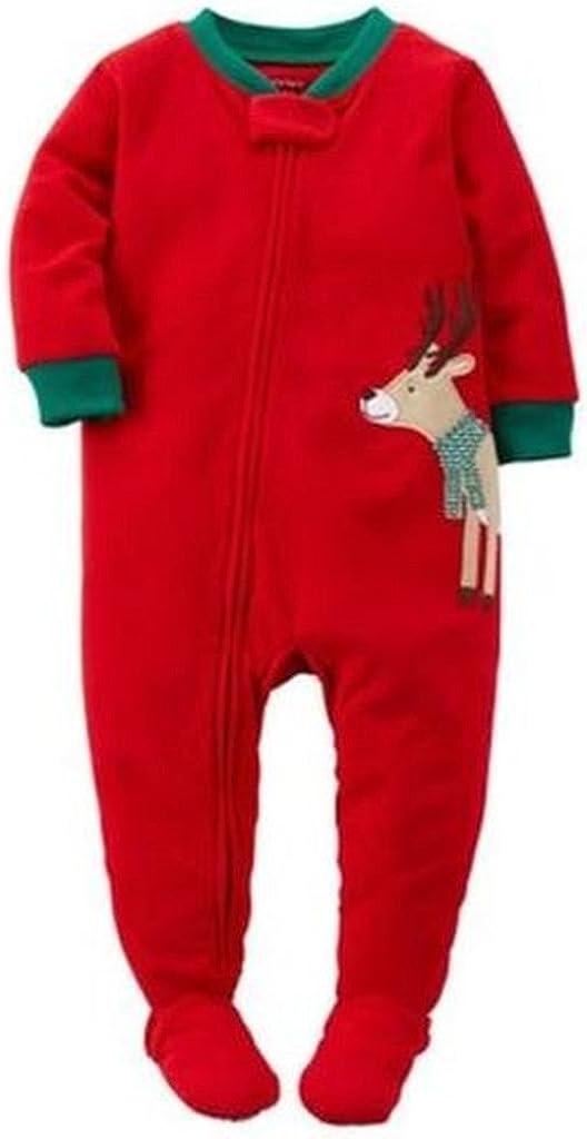 Carter's Boy's Size 3T Fleece Red Christmas Reindeer Pajama Sleeper