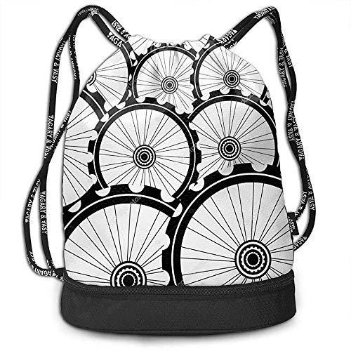 Valender Bulk Drawstring Rucksack, Gym Sport Bag Cinch Sack für Erwachsene Kinder, Fahrradfelge