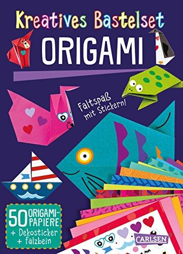 Kreatives Bastelset: Origami: Set mit 50 Faltbögen, Anleitungsbuch und Falzhilfe: Falten für Kinder