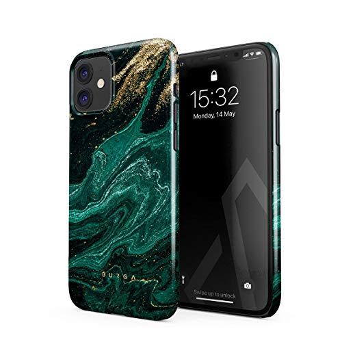 BURGA - Carcasa para iPhone 12 Mini, color verde esmeralda, color dorado con purpurina y mármol, diseño fino, resistente y de plástico duro