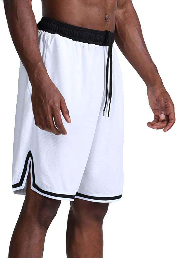 MONISE Men's Elastic Waist Workout Running Shorts Quick Dry Super Breathable Mesh Gym Basketball Athletic Shorts