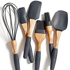 """PREMIUM NATURAL BEECH WOOD BAKING UTENSILS – Elegant Beech Wood utensils add a premium touch to any kitchen or BBQ Grill set; Complete set of utensils meet all your baking, mixing, basting and glazing needs 100% FOOD GRADE SILICONE with NO """"FILLERS"""" ..."""
