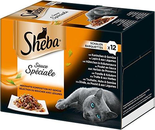 Sheba Sauce Spéciale, Edle Nassfutter-Kreationen für ausgewachsene Katzen, Alleinfuttermittel in der Schale, 72 Schalen (6 x 12 x 85g)