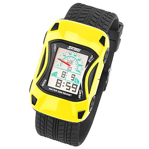 Taffstyle Kinder Armbanduhr Silikon Sportuhr Bunte Uhr Stoppuhr Auto Motiv mit Alarm Digital Quartz Gelb