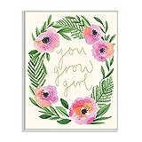 Stupell Industries You Grow Girl Phrase Blushing Pink Orange Florals, Designed by Heather McLaughlin Wandschild, Grün, 13x19