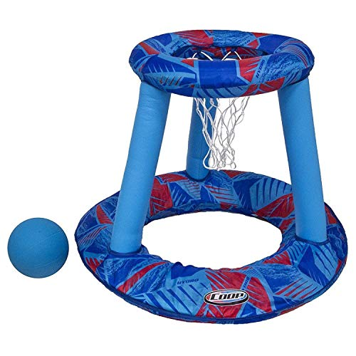 SwimWays Coop Inflatable Floating Water Pool Basketball Hoop Game w/ Spring Loaded, Twist and Fold Design, Storage Bag, and Basketball Included, Blue