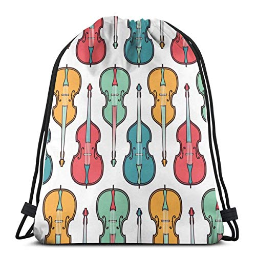 XCNGG Bolsa con cordón Bolsa con cordón Bolsa portátil Bolsa de Gimnasio Bolsa de Compras Double Bass Packable Sport Gym Drawstring Sackpack Backpack Bag For Men,Women 17X14 Inch