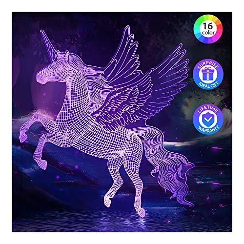 Luz de noche de unicornio para niños, lámpara de noche LED regulable, temporizador, 16 colores cambiantes, control remoto táctil, juguetes de cumpleaños de unicornio