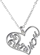 Mom's Birthday Mothers Day Gifts Mom Love Heart Pendant Necklace, Fashion Jewelry for Women, Valentines Day Christmas Gifts for Mother