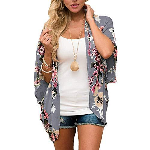 YONHEE Damen Florale Kimono Cardigan - Floral Cover Up Chiffon Print Kimono Beachwear Boho Sommer Casual Bluse Badebekleidung Cardigan Badeanzug (Darkgrey, Medium)