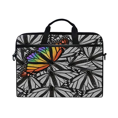 HAIIO Laptop Bag Case Rainbow Butterfly Animal Pattern Computer Protector Bag 14-14.5 inch Travel Briefcase with Shoulder Strap for Women Men Girl Boys
