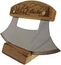 """product image for Alaskan Inupiat Ulu with Bear & Mountain Etched Birch Handle, 6.25"""" Blade"""