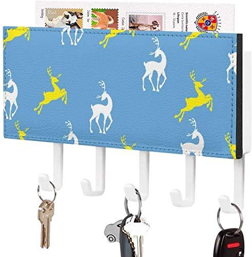 Key Hooks for Hallway - Key Holder, Wall Mounted Key Hook, Vintage Stag Orange Deer Reindeer Silhouette, Wall Entryway Mail Holder, Decorative Key Organizer Rack with 5 Hooks-White-Pattern3