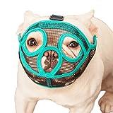 ILEPARK Bozal para Perros de Hocico Corto, Bozal de Bulldog francés, Anti-Mordiscos y Ladridos, Máscara para Perros Transpirable Ajustable(M,Verde)