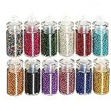 12 PCS 3D colorido de uñas Mini perlas de los granos Caviar manicura del arte Decoraciones, con vidrio transparente Botella Diferentes Colores