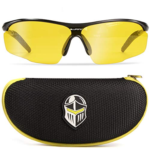BLUPOND Night Driving TAC Glasses - Anti Glare Yellow Clear View HD Shield Lens - Durable Ultralight Metal Frame - Knight Visor Mark II