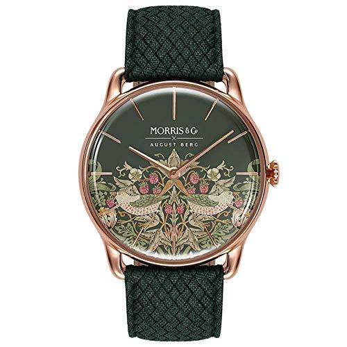 Morris & Co. - Morris & Co. Fennel Rose Gold Strawberry Thief | Green Perlon - 38mm