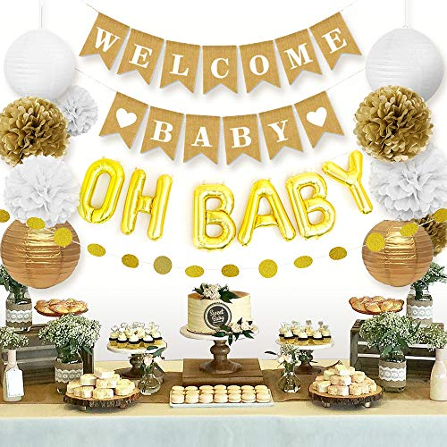 Sweet Baby Co. Baby Shower Decorations Neutral for Boy or Girl with Welcome Baby Banner, Oh Baby Balloon, Lanterns, Flower Pom Poms, Circle Glitter Garland | Rustic Gold and White Gender Neutral Set
