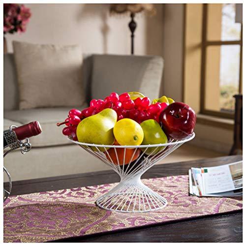 MWG Panier à Fruits Bol en métal Bol à Fruits Plateau à collations en métal Panier à Fruits (Couleur : Blanc)