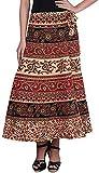 Kanika Fashion Jaipuri Printed Long Cotton Wrap Around Skirt for Womens' (Free Size,Brown)
