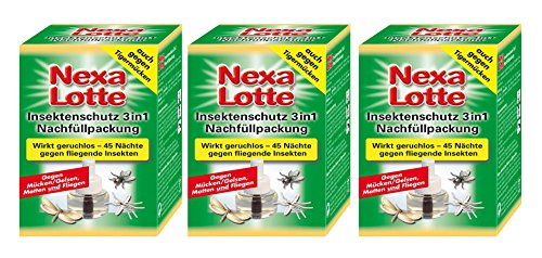 3 x Nexa Lotte Nachfüllpackung für Insektenschutz 3 in 1, Mückenabwehr