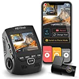 Rexing V1P 4K 2.4' LCD 2160p Front + 1080p Rear Wi-Fi 170° Wide Angle Dual Channel Dashboard Camera Recorder Car Dash Cam with Rear Cam, G-Sensor, WDR, Loop Recording Mobile App Supercapacitor (2021)