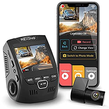 Rexing V1P 4K 2.4  LCD 2160p Front + 1080p Rear Wi-Fi 170° Wide Angle Dual Channel Dashboard Camera Recorder Car Dash Cam with Rear Cam G-Sensor WDR Loop Recording Mobile App Supercapacitor (2021)