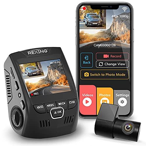 REXING V1P 2.4'LCD FHD 1080p 170 Gradi grandangolo a Doppio Canale Wi-Fi Dashboard Videocamera Dash Cam per Auto con Telecamera Posteriore, Supercapacitor, G-Sensor, WDR