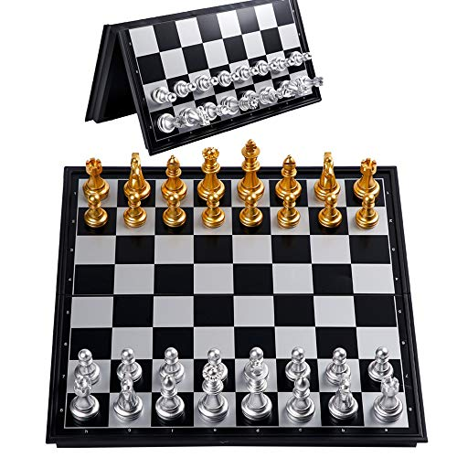 YYMM Folding International Chess Set, Portable Magnetic Plastic with Storage Box International Board Chess Checkers, Engaged Birthday Gift, for Kids of All Age