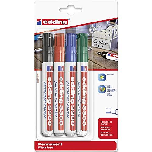 edding 3300 Permanentmarker - schwarz, rot, blau, grün - 4 Stifte - Keil-Spitze 1-5 mm - schnell trocknender Permanent Marker - wasserfest, wischfest - für Karton, Kunststoff, Holz, Metall