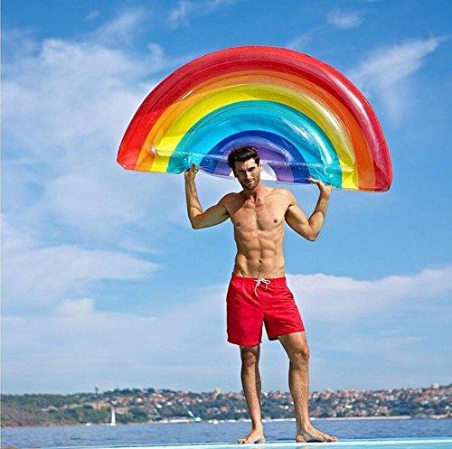 Rainbow aufblasbare Luftmatratze,Party Schwimmgerät Pool Spielzeug für Erwachsene & Kinder