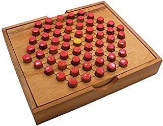 Shopefied Nostalgic Wooden Classic Tic Tac Toe and Solitaire Peg Board Game