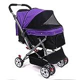 CYPET Trolley para Mascotas Trolley para Gatos Trolley para Perros Saliente Carritos para Gatos Perros Ligeros,Purple