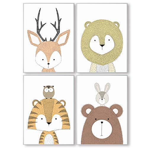 Pandawal Wandbilder Kinderzimmer/Babyzimmer Bilder für Junge und Mädchen niedliche Waldtiere 4er Poster Set (S18) im DIN A4 Format