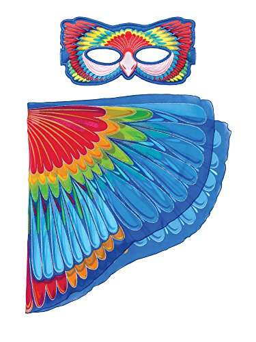 Dreamy Dress-Ups 66186 Mask + Wings, vleugels + masker, Scarlet Macaw Parrot, vogel papegaai lichtrode Ara macao