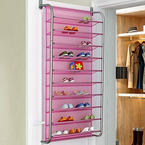Estink Zapatero compacto detrás de la puerta de pared con 10 estantes Slim modulable, organizador para zapatos, para 36 pares de zapatos, color rosa