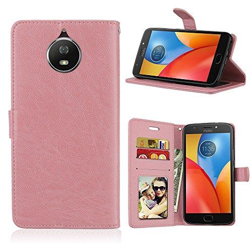 Capa para Motorola Moto G6 Plus G5s Plus proteção de couro PU com 3 compartimentos para cartões capa flip (rosa)