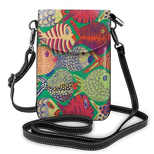AOOEDM YongColer Fashionable Fish Shoal Green Teléfono celular Bolso pequeño para hombros Bolso bandolera Smartphone Paquete al aire libre para viajes Trabajo Compras Caminar