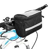 ZXK CO Fahrrad Lenkertasche, mit Transparentem Wasserdicht Touchscreen-Handyhalter, Multifunktional Wasserdicht Fahrradtasche für Handy Fahrrad Vorderer Rahmentasche für Rennrad-MTB