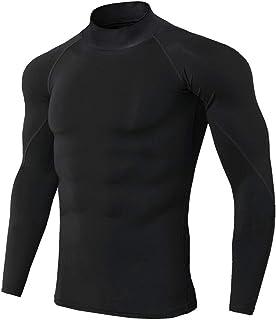 HJHK Camicia Compressione Uomo Slim Fit Fitness T-Shirt A Maniche Lunghe Funzionale Traspirante Top Elasticizzata Asciugat...