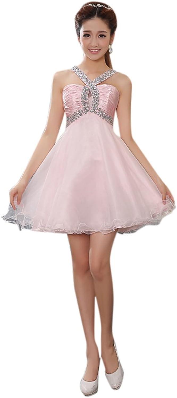 Dearta Women's ALine VNeck Short Mini Organza Evening Dresses