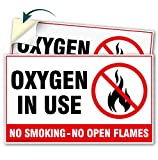 (2 Pack) Oxygen in Use No Smoking No Open Flames Decal Sign - 3' X 5' - Self-Adhesive 4 Mil Vinyl Decal - Indoor and Outdoor Use - 21157H2-VL-2
