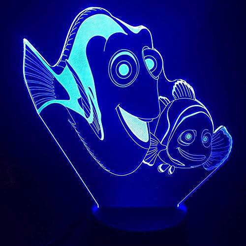 BTEVX Lámpara de ilusión 3D Luz de noche LED Buscando a Nemo 2 Dory Fish Decorativo Niños Niños Dormitorio Decoración Mejor batería USB Cool Fiesta Hogar Regalos de vacaciones