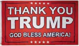 Thank you Trump God Bless America! Red Premium Quality Heavy Duty Fade Resistant 3x5 3'x5' 100D Woven Poly Nylon Flag Banner Grommets (RUF)