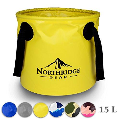 Northridge Gear Cubo Plegable Plegable en diseño Moderno | Camping Pesca Fiesta Jardín | Puede usarse como tazón de Lavado Plegable, Recipiente de Agua o Fregadero Plegable | Amarillo, 15L