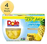 DOLE FRUIT BOWLS, Pineapple Tidbits in Juice, 4 Cups