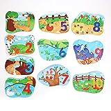 Juguete de rompecabezas de madera para niños de dibujos animados, Inteligencia de ejercicio educativo temprano Juego de combinación de animales para niños mayores de 18 meses(Digital)