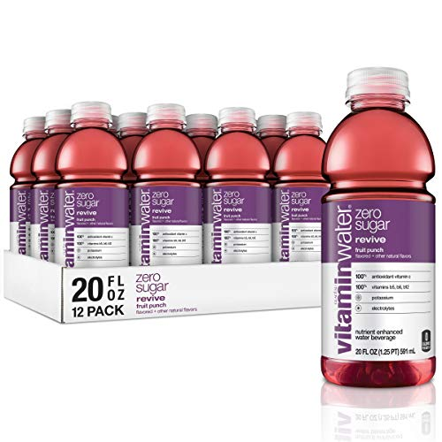 vitaminwater zero revive, fruit punch flavored, electrolyte enhanced bottled water with vitamin b5, b6, b12, 20 fl oz, 12 pack